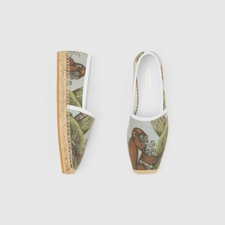 Burberry Monkey Jacquard and Leather Espadrilles