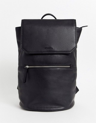 Asos DESIGN leather backpack in black with zip detail and front flap