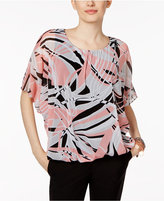 Alfani Petite Printed Mesh Top, Only at Macy's