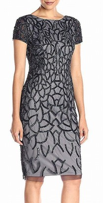 Adrianna Papell Women's Short Sleeve Fully Beaded Cocktail Dress with Geometric Beading