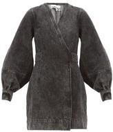 Ganni Acid-wash Denim Wrap Dress - Womens - Black