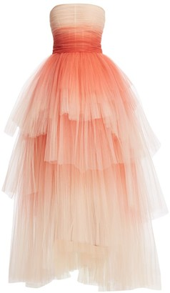 Oscar de la Renta Ombre Tiered Tulle Strapless Gown