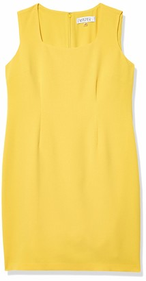 Kasper Women's Sleeveless Square Neck Sheath Dress with Back Detail