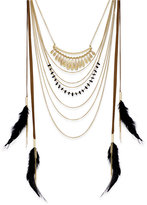 INC International Concepts Gold-Tone Black Feather Statement Necklace, Only at Macy's