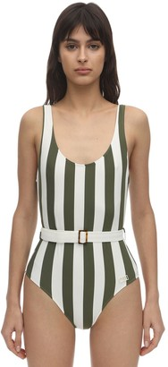 Solid & Striped Ann Marie Belted Striped Lycra Swimsuit