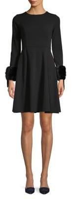 Calvin Klein Petite Faux Fur-Trim Mini A-Line Dress