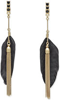 INC International Concepts Black Feather Front and Back Earrings, Only at Macy's