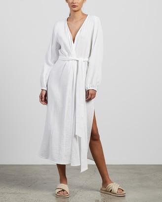 Honour Apparel - Women's White Midi Dresses - Robe Dress - Size M at The Iconic