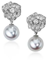 Piaget Diamond & 9MM White Akoya Pearl Drop Earrings