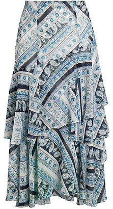Karl Lagerfeld Paris Printed Ruffle Midi Skirt
