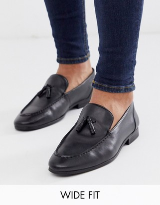 Silver Street wide fit leather high shine loafer in black