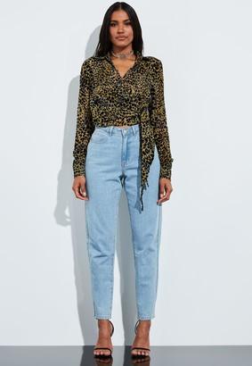 Missguided Brown Animal Print Velvet Full Sleeve Blouse