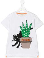 Fendi cat print T-shirt - kids - Cotton - 4 yrs