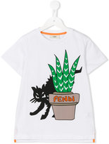 Fendi cat print T-shirt - kids - Cotton - 6 yrs