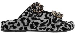 Dolce & Gabbana Crystal-embellished Flocked Canvas Slides