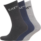 Caterpillar Mens Three Pack Crew Socks Navy/Light Grey Marl/Charcoal Marl