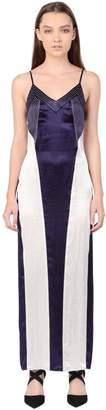 Simongao Sleeveless Patchwork Satin Dress