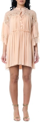 Chloé Maple Pink Flared Dress With Lace Insert