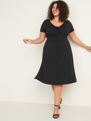 Old Navy Fit & Flare Jersey Knotted-Tie Plus-Size Dress