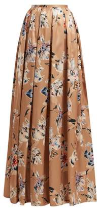 Rochas Tulip Print Satin Maxi Skirt - Womens - Beige Multi