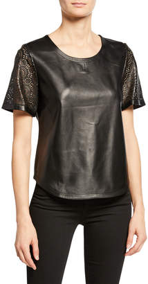 Neiman Marcus Leather Collection Laser-Cut Leather Tee