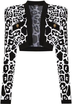 Balmain Leopard-Print Cropped Cardigan