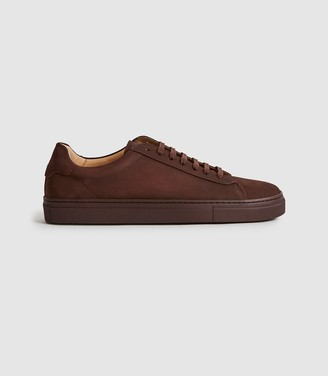 Reiss Finley - Nubuck Leather Trainers in Pomegranate