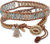 lonna & lilly Crystal & Bead Brown Leather Wrap Bracelet