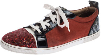 Christian Louboutin Red/Black Suede and Patent Leather Gondola Strass Low Top Sneakers Size 42