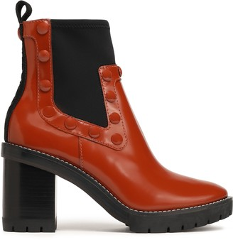 Tory Burch Studded Patent-leather Ankle Boots