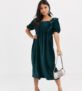 Asos DESIGN Petite cord frill midi dress in green