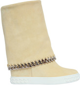 Casadei 90mm Suede Wedge Sneakers W/ Chain Trim