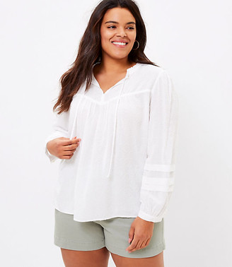 LOFT Plus Clip Pleated Sleeve Blouse