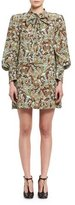 Chloé Butterfly Garden Paisley Tie-Neck Dress, Brown/Multicolor
