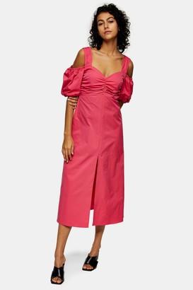Topshop Womens Pink Taffeta Bardot Midi Dress - Pink