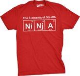 Crazy Dog T-shirts Crazy Dog Tshirts Mens The Eements of Steath (Ni-Nj-A) T-Shirt Funny Ninja Science Shirt