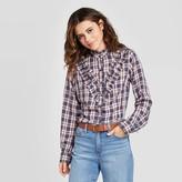Universal Thread Women's Plaid Ruffle Long Sleeve Henley Button-Down Shirt - Universal ThreadTM