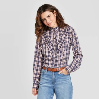 Universal Thread Women's Plaid Ruffle Long Sleeve Henley Button-Down Shirt - Universal ThreadTM