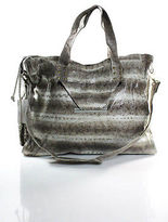 Beirn Light Brown White Snakeskin Convertible Messenger Handbag New