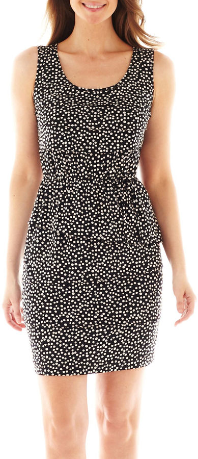 JCPenney Danny & Nicole Sleeveless Tiered Polka Dot Dress