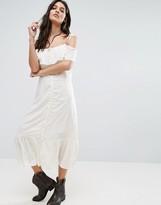 Vero Moda Jade Button Through Cold Shoulder Midi Dress