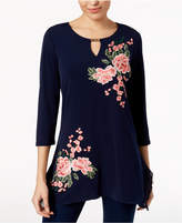 JM Collection Floral Keyhole Tunic, Created for Macy's