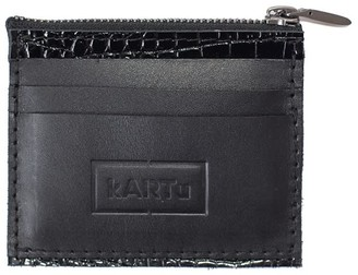 Kartu Studio Natural Leather Card/Coin Case Thyme' Black/Reptile Detail