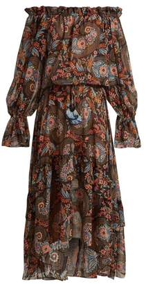 Anjuna - Sofia Floral Print Off The Shoulder Dress - Womens - Black Multi