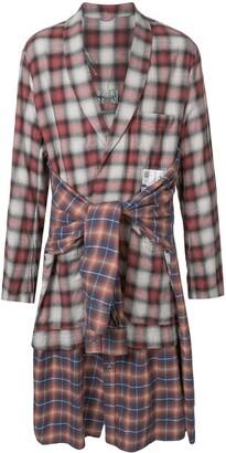 Maison Mihara Yasuhiro Checked Tie-Waist Long Shirt