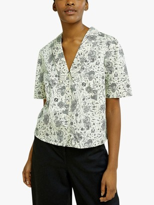 People Tree V&A Anaya Floral Blouse, Neutral
