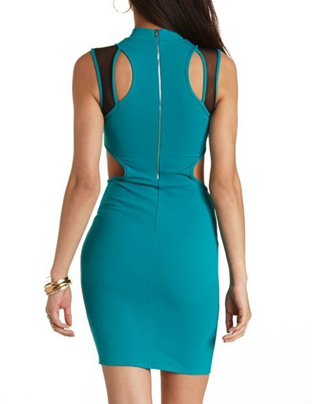 Charlotte Russe Mesh Cut-Out Mock Neck Bodycon Dress