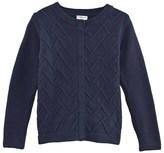 Cyrillus Navy Textured Knit Cardigan