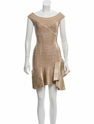 Herve Leger Bandage Mini Dress Tan
