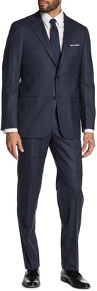 Hickey Freeman Milburn IIM Series T Navy Glenplaid with Overcheck Two Button Notch Lapel Wool Regular Fit Suit
